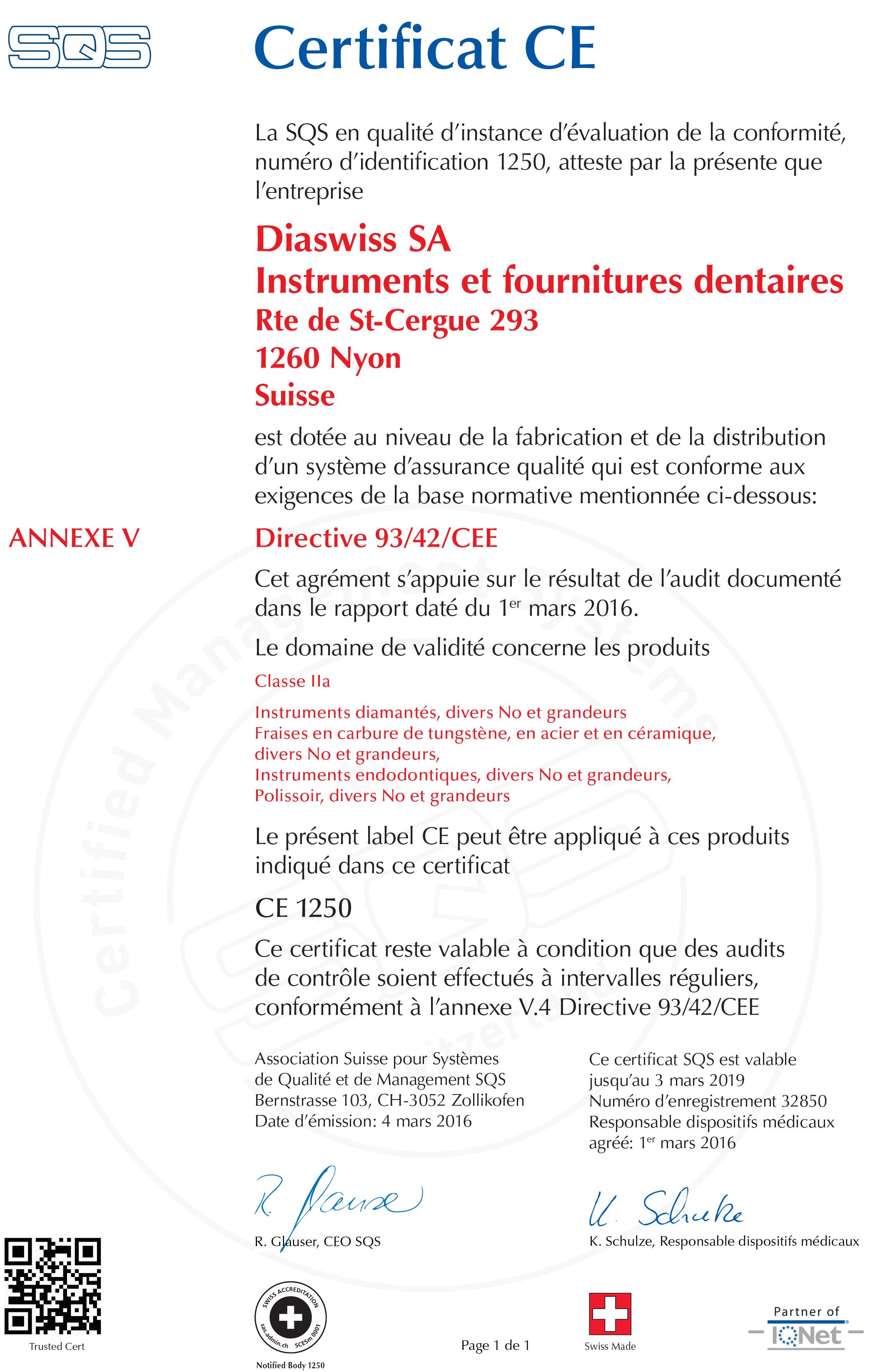 Certificat Diaswiss - Fraise Dentaire